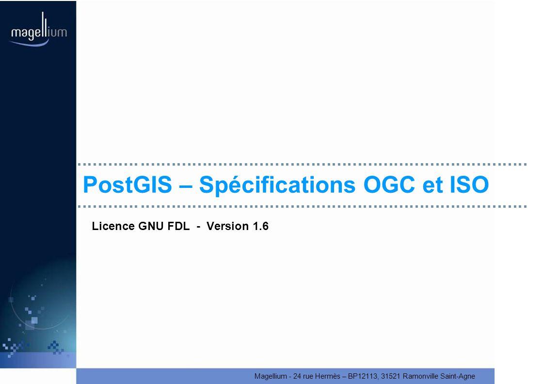 PostGIS – Spécifications OGC et ISO