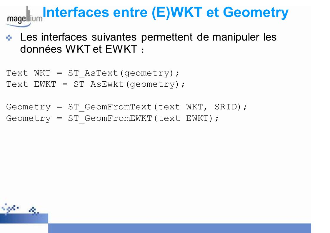 Interfaces entre (E)WKT et Geometry
