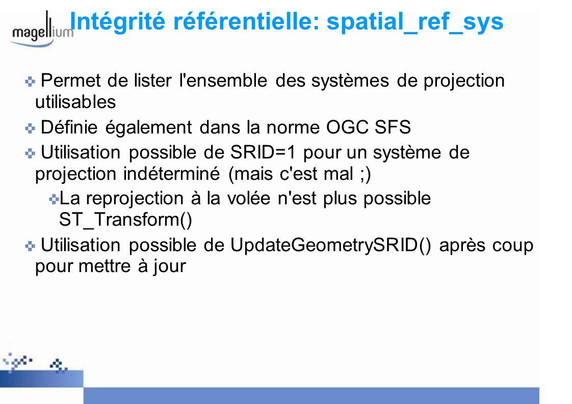 Intégrité référentielle: spatial_ref_sys
