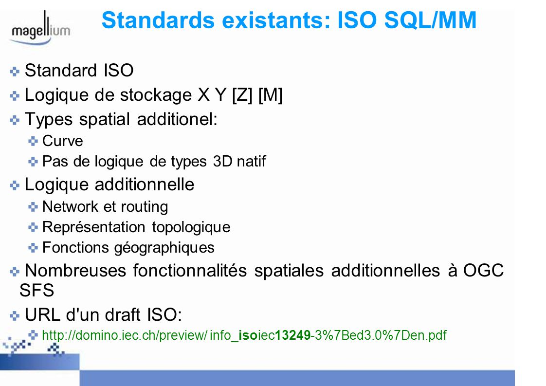 Standards existants: ISO SQL/MM