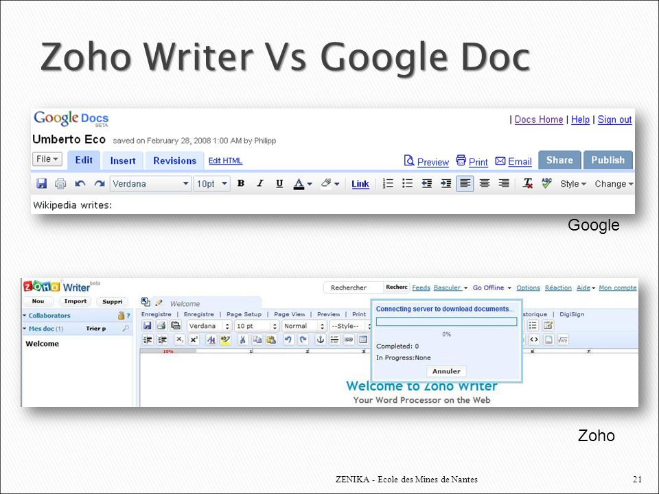Zoho Writer Vs Google Doc
