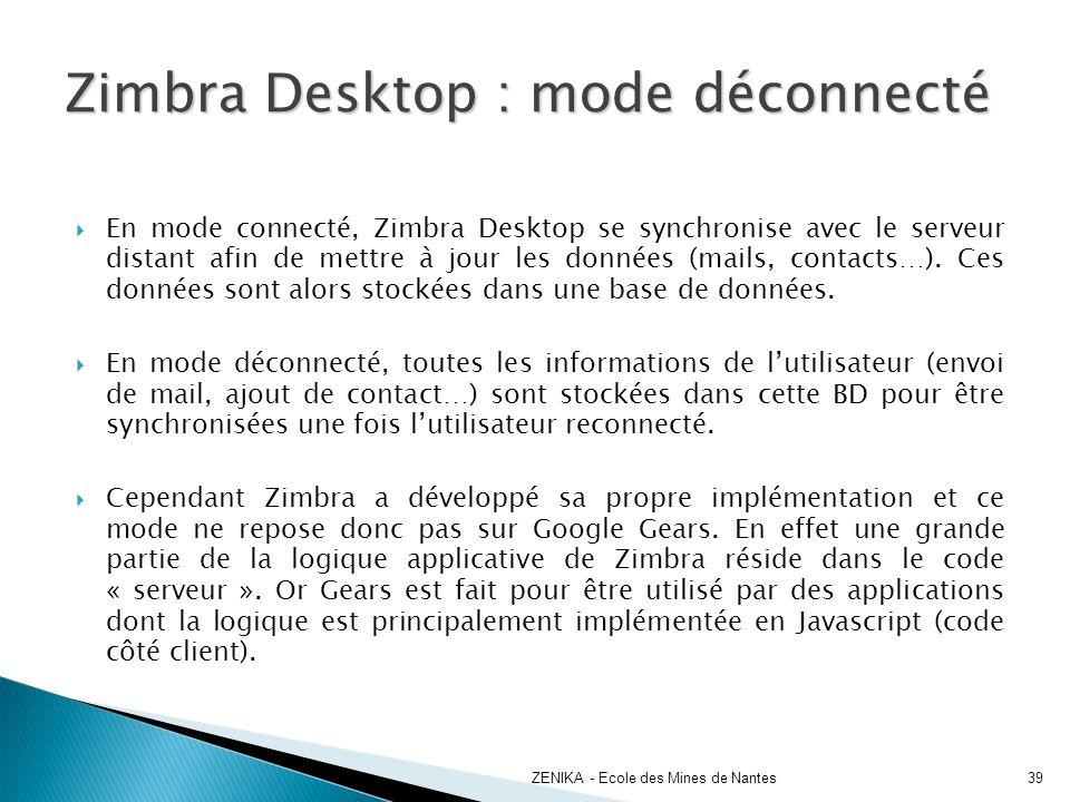Zimbra Desktop : mode déconnecté