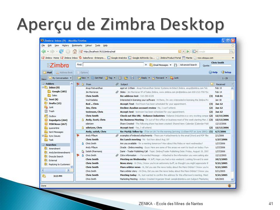 Aperçu de Zimbra Desktop
