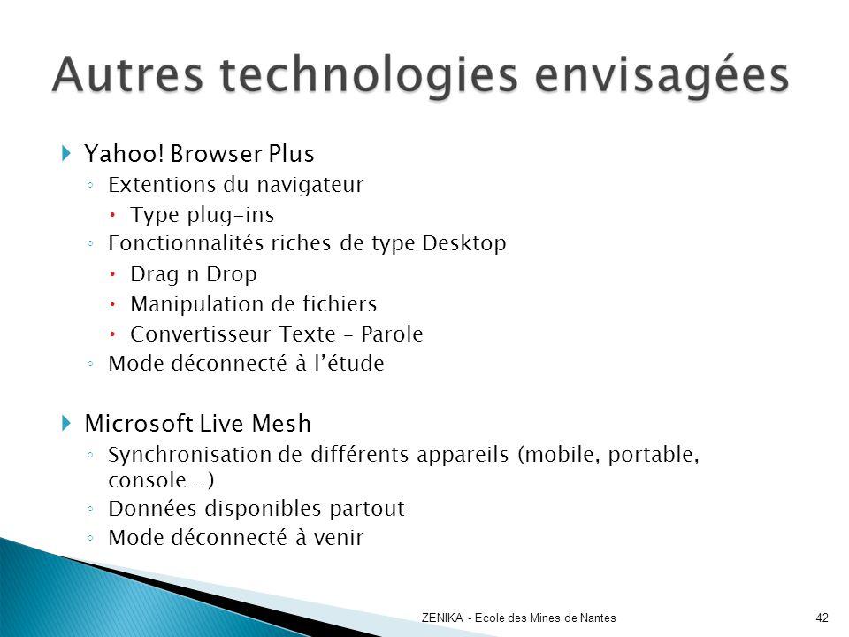 Yahoo! Browser Plus Microsoft Live Mesh Extentions du navigateur