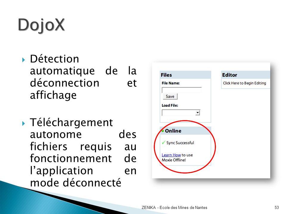 DojoX Détection automatique de la déconnection et affichage
