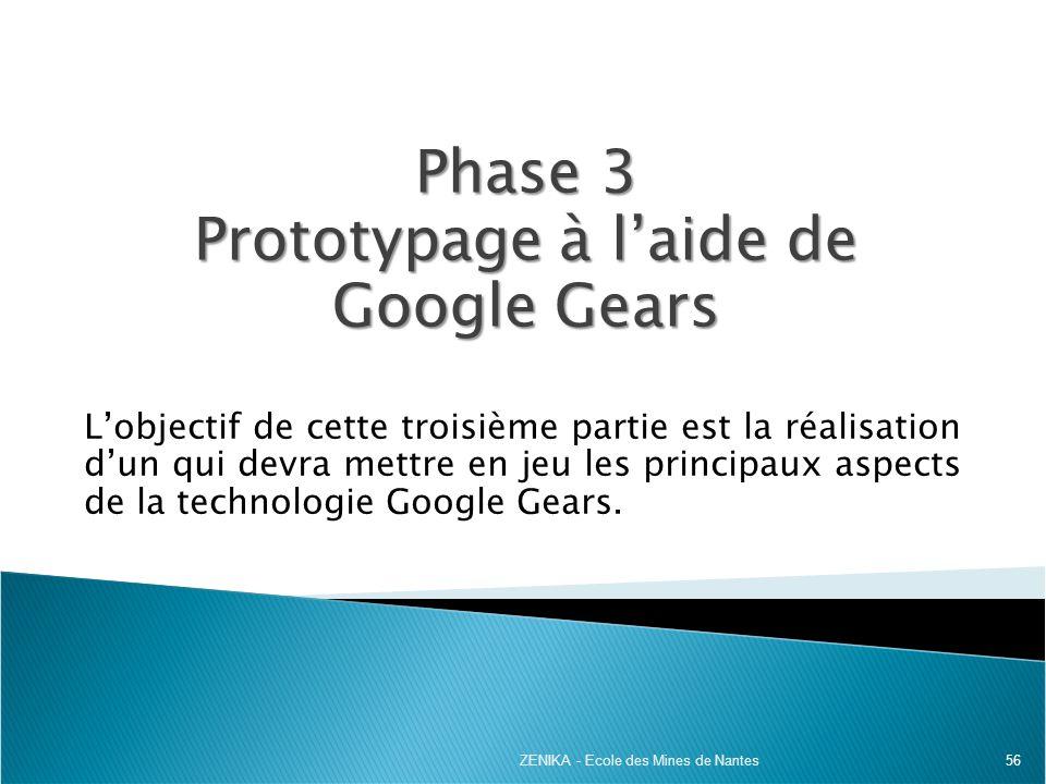 Phase 3 Prototypage à l'aide de Google Gears