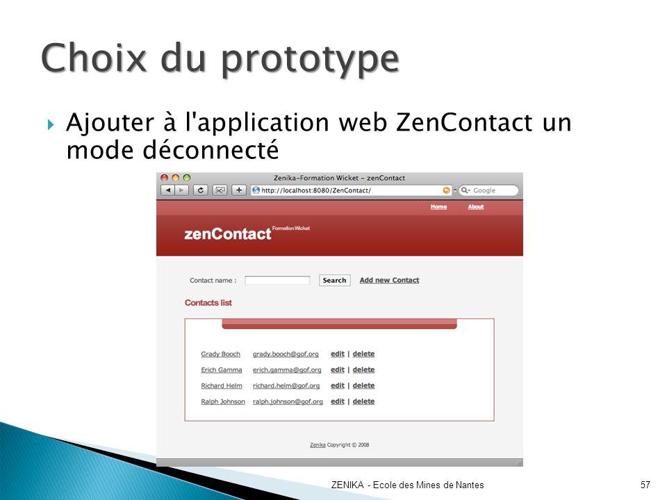 Choix du prototype Ajouter à l application web ZenContact un mode déconnecté. ZENIKA - Ecole des Mines de Nantes.