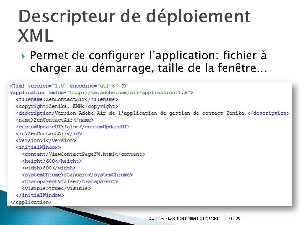 Descripteur de déploiement XML