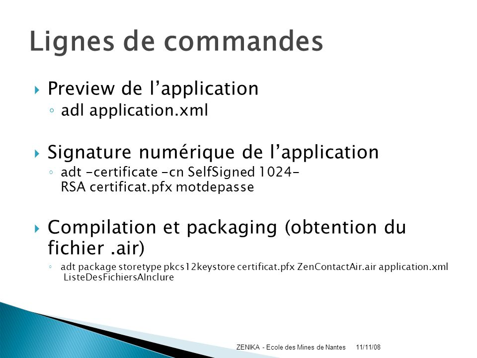 Lignes de commandes Preview de l'application