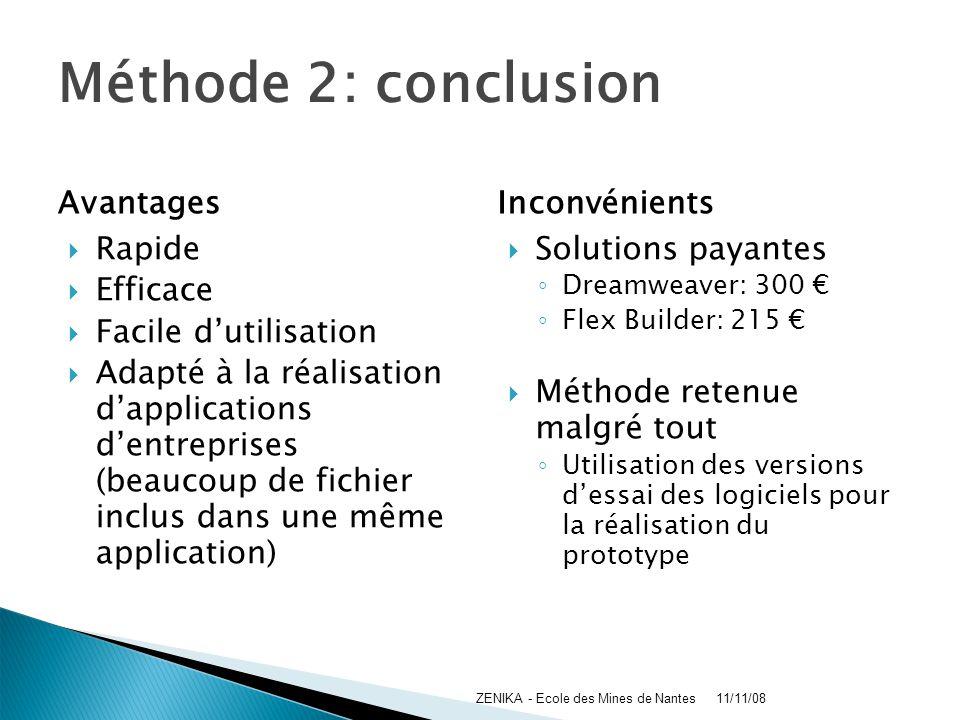 Méthode 2: conclusion Avantages Inconvénients Rapide Efficace