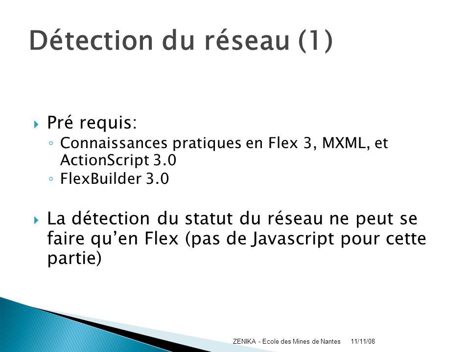 Détection du réseau (1) Pré requis: