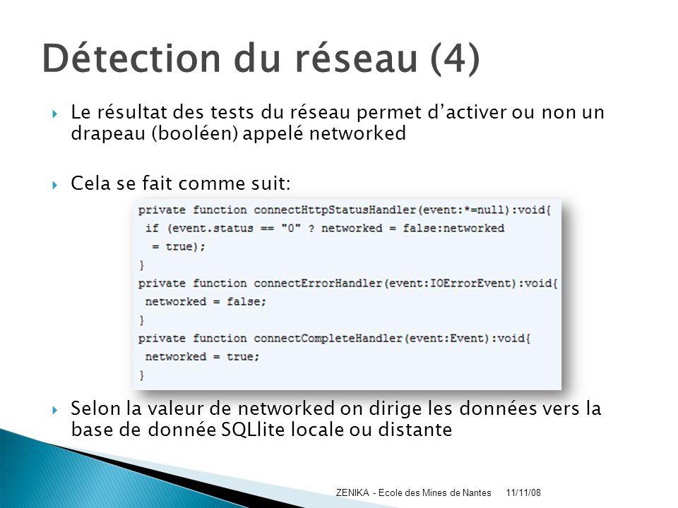 Détection du réseau (4) Le résultat des tests du réseau permet d'activer ou non un drapeau (booléen) appelé networked.