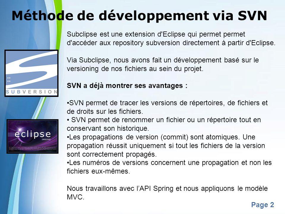 Méthode de développement via SVN