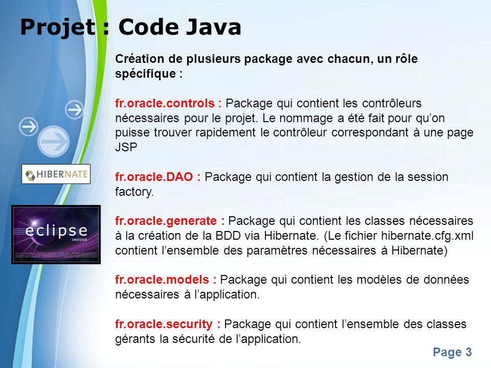 Projet : Code Java Création de plusieurs package avec chacun, un rôle spécifique :