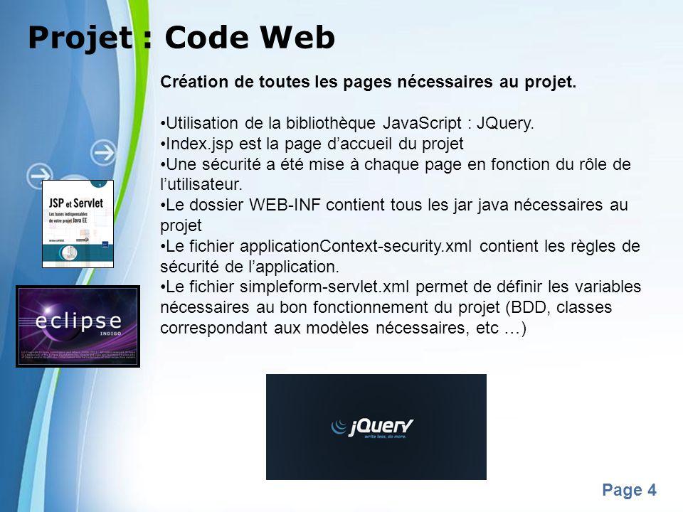 Projet : Code Web Création de toutes les pages nécessaires au projet.