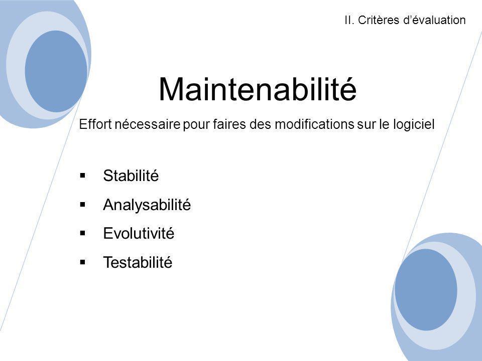 Maintenabilité Stabilité Analysabilité Evolutivité Testabilité