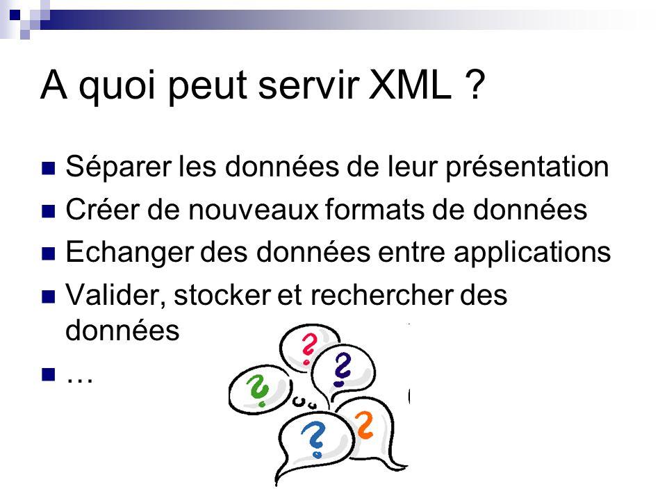 A quoi peut servir XML Séparer les données de leur présentation