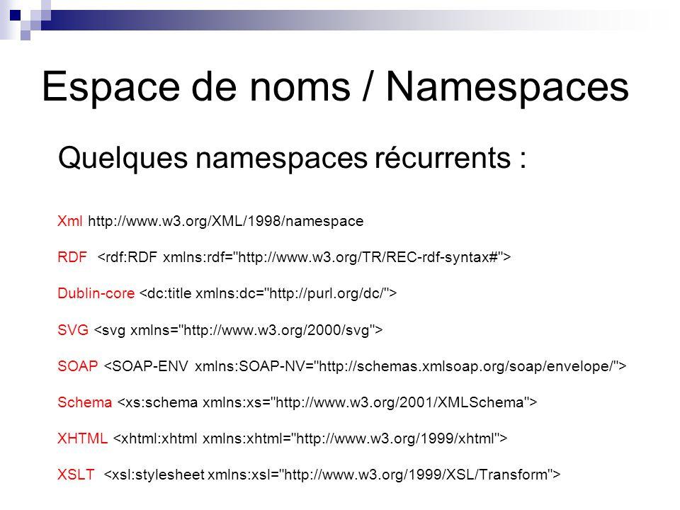 Espace de noms / Namespaces