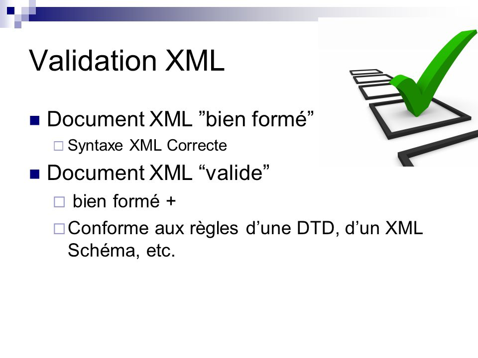 Validation XML Document XML bien formé Document XML valide