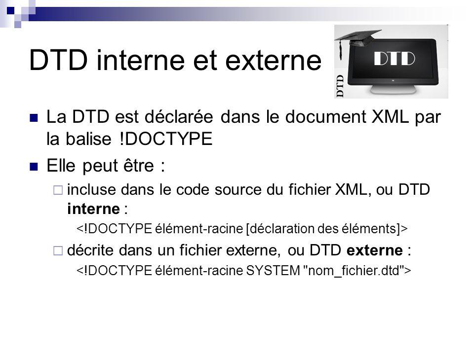 DTD interne et externe La DTD est déclarée dans le document XML par la balise !DOCTYPE. Elle peut être :
