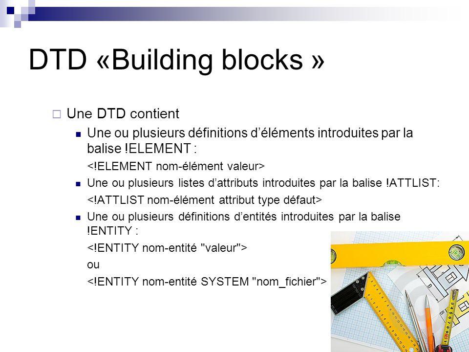 DTD «Building blocks » Une DTD contient