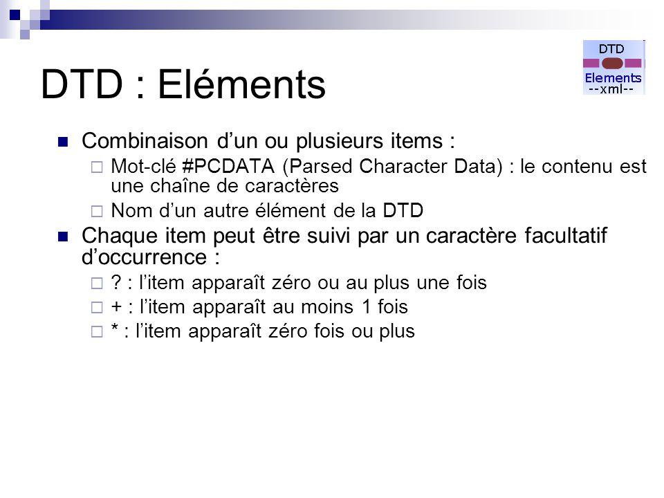 DTD : Eléments Combinaison d'un ou plusieurs items :