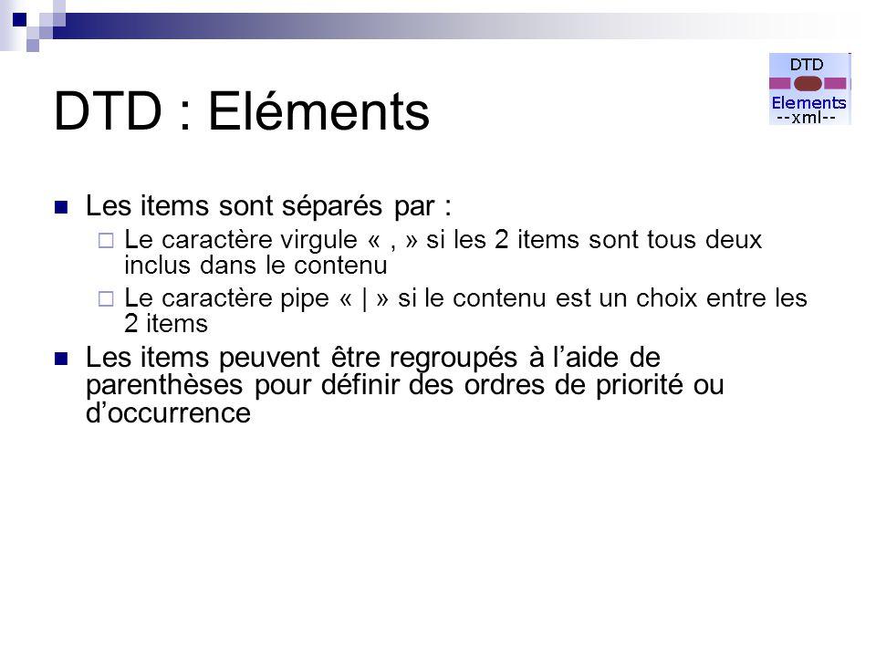 DTD : Eléments Les items sont séparés par :