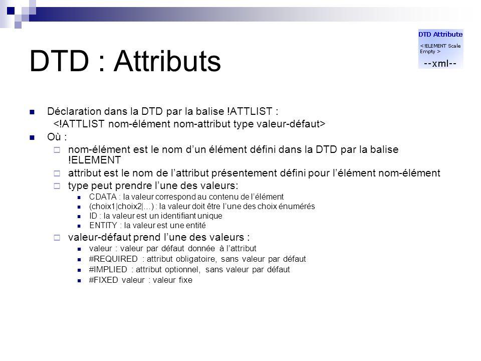 DTD : Attributs Déclaration dans la DTD par la balise !ATTLIST :