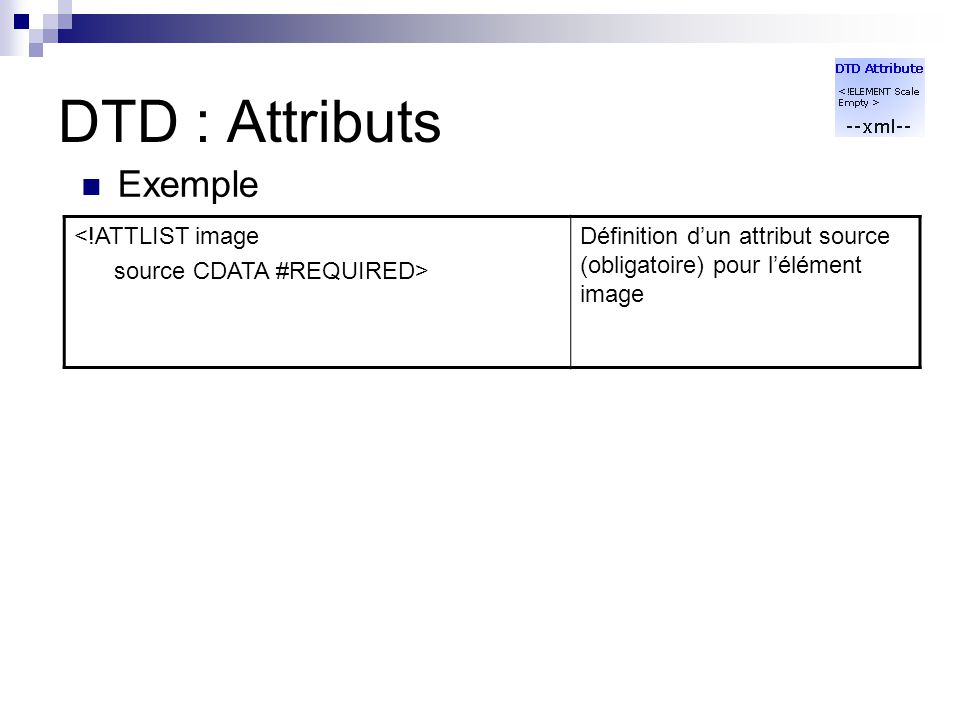 DTD : Attributs Exemple <!ATTLIST image source CDATA #REQUIRED>