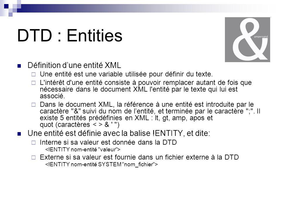DTD : Entities Définition d'une entité XML
