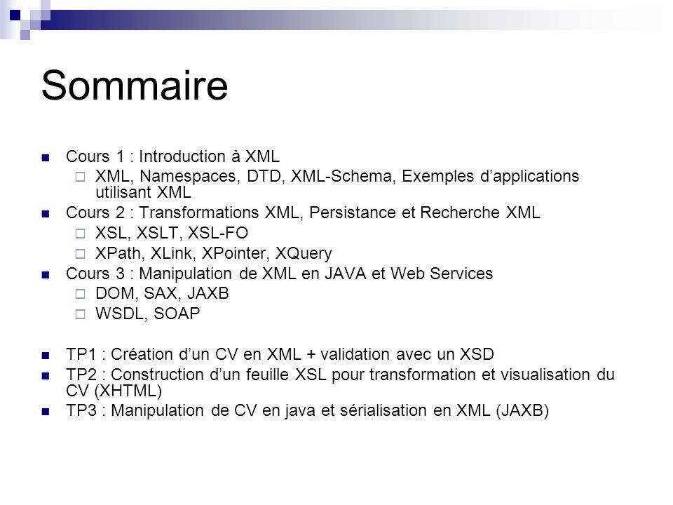 Sommaire Cours 1 : Introduction à XML