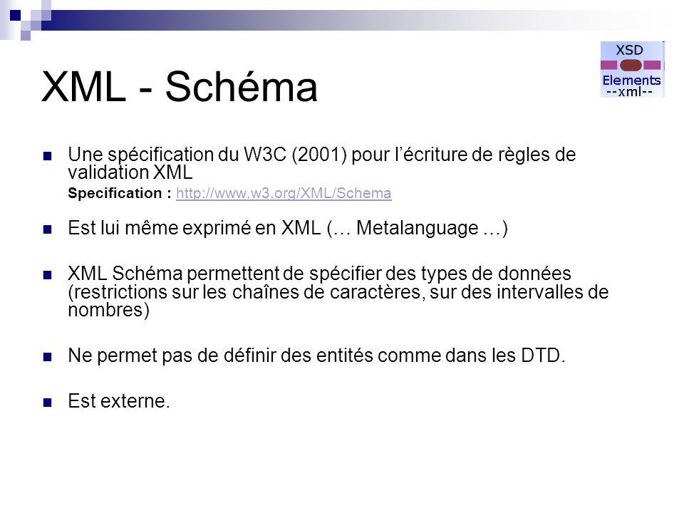 XML - Schéma Une spécification du W3C (2001) pour l'écriture de règles de validation XML. Specification : http://www.w3.org/XML/Schema.