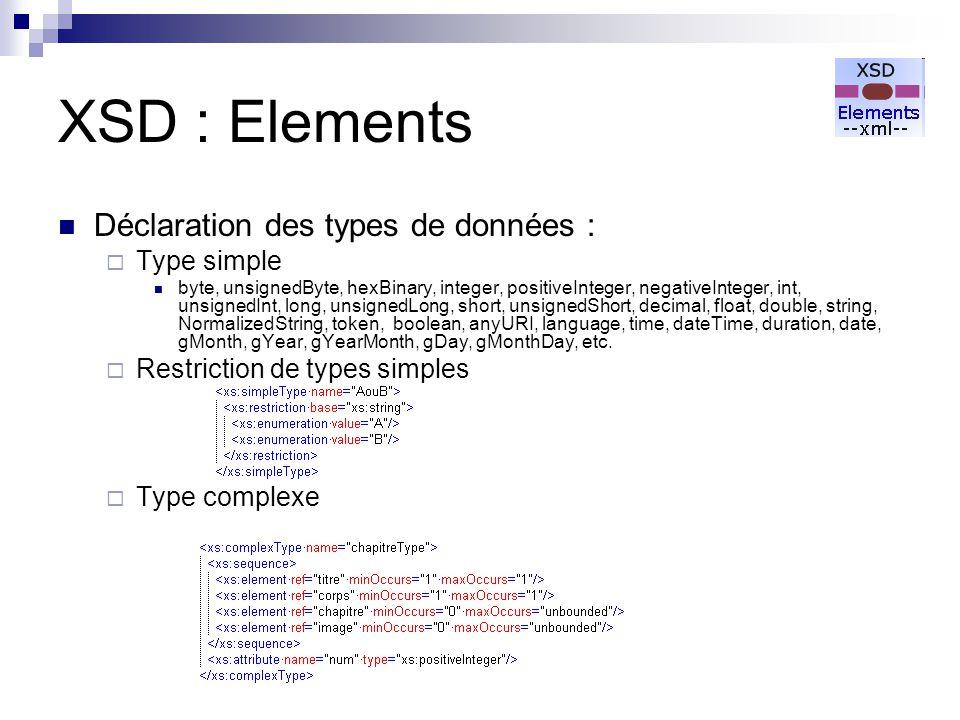 XSD : Elements Déclaration des types de données : Type simple