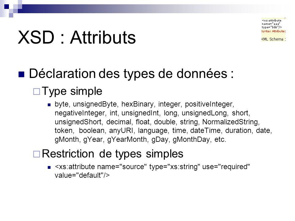 XSD : Attributs Déclaration des types de données : Type simple