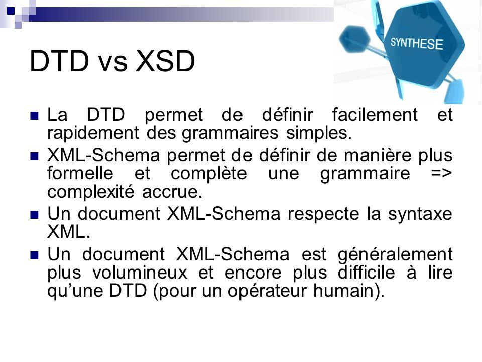 DTD vs XSD La DTD permet de définir facilement et rapidement des grammaires simples.