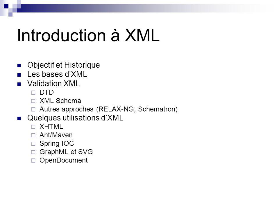 Introduction à XML Objectif et Historique Les bases d'XML
