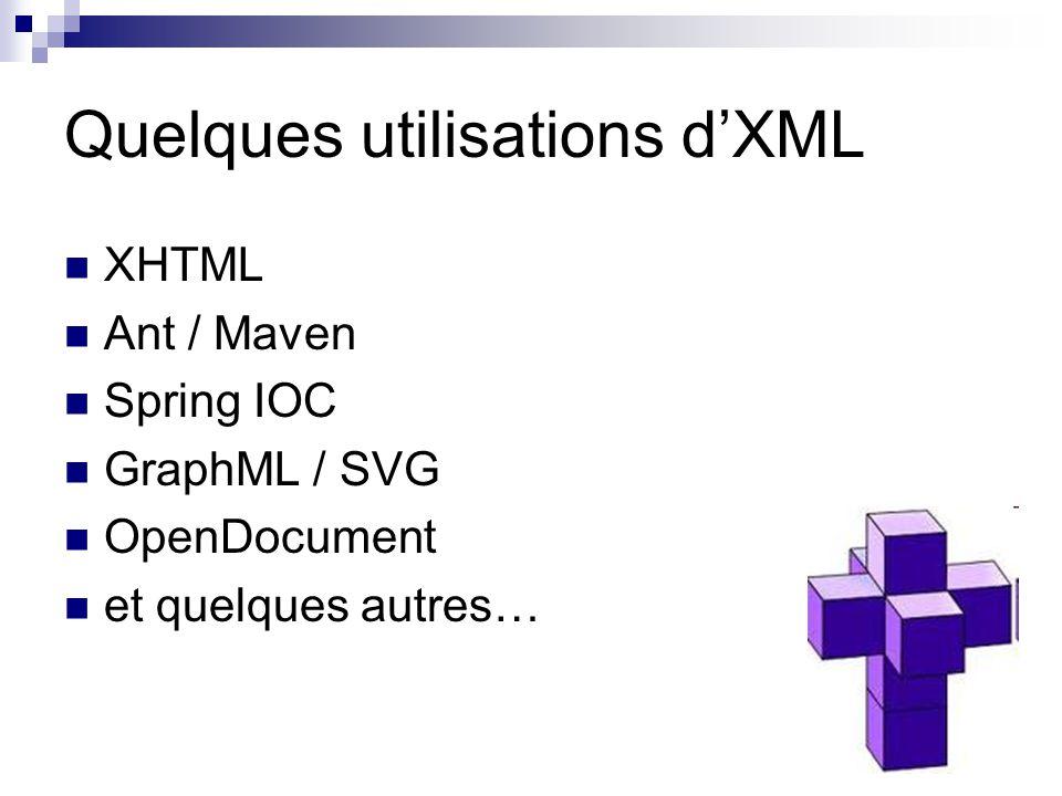 Quelques utilisations d'XML