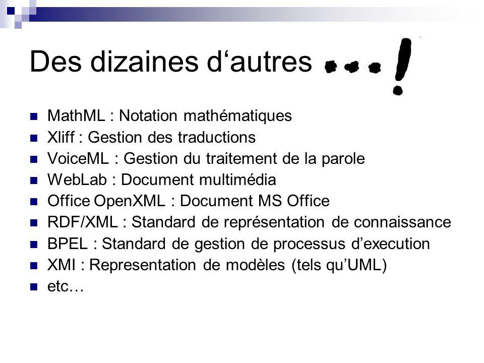 Des dizaines d'autres MathML : Notation mathématiques