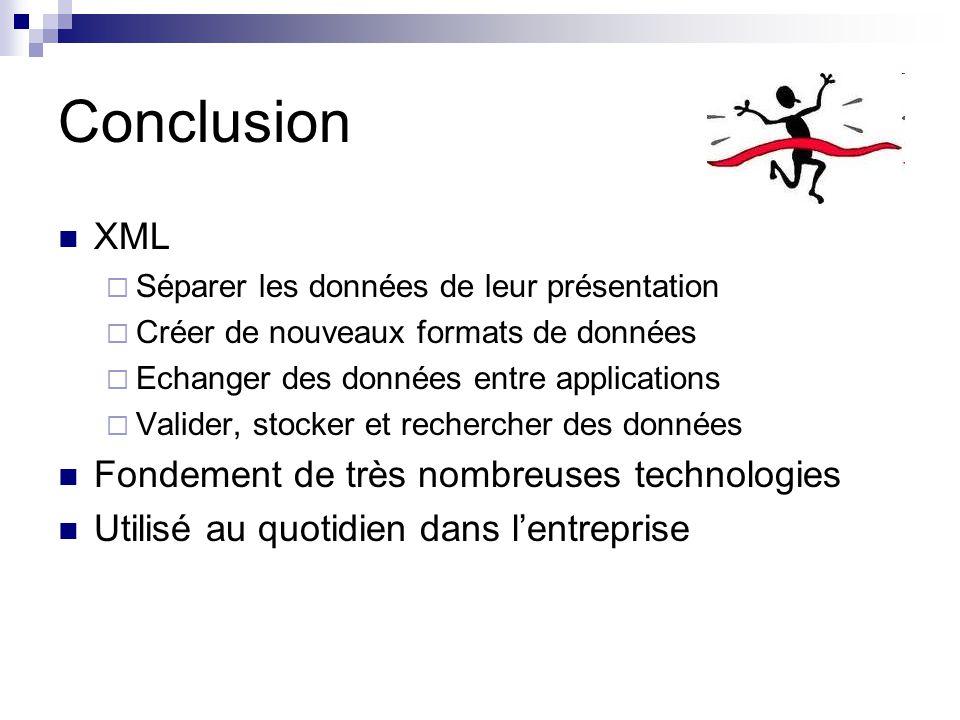 Conclusion XML Fondement de très nombreuses technologies