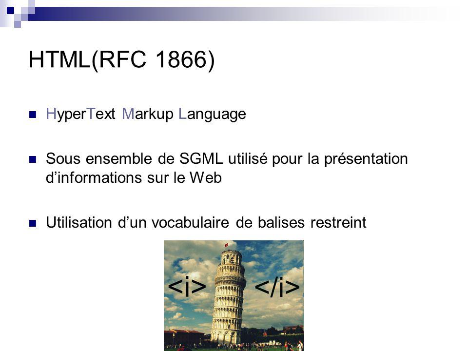 HTML(RFC 1866) HyperText Markup Language