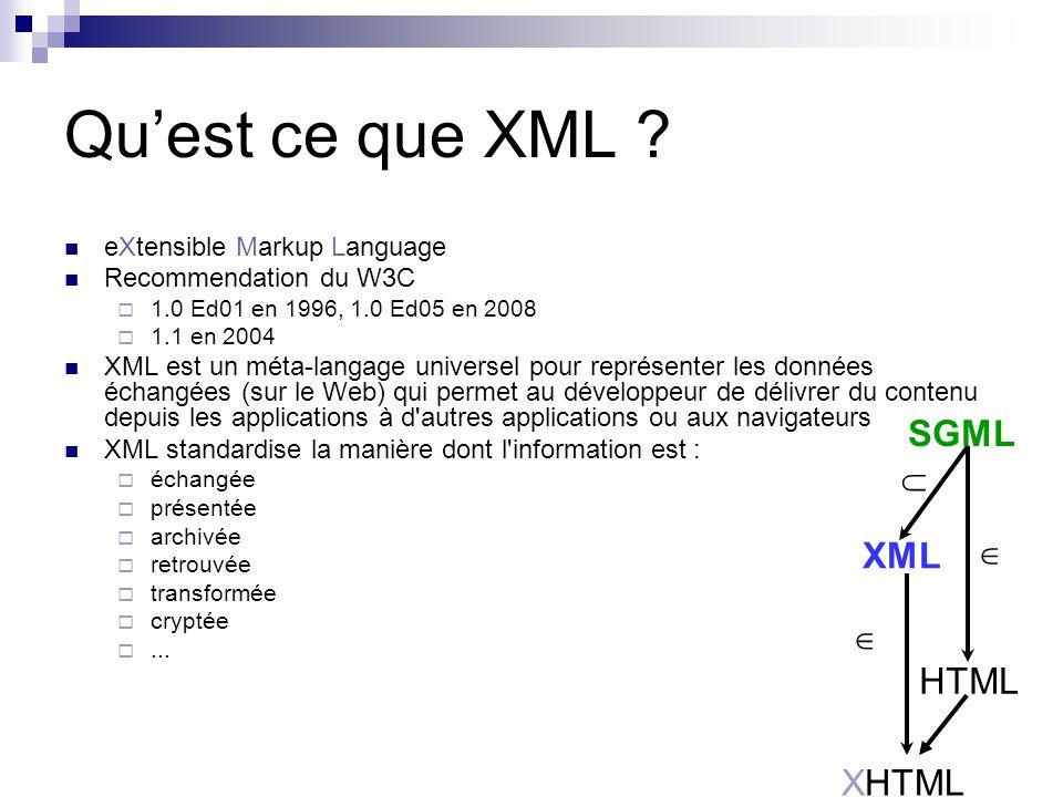 Qu'est ce que XML SGML XML HTML XHTML   eXtensible Markup Language