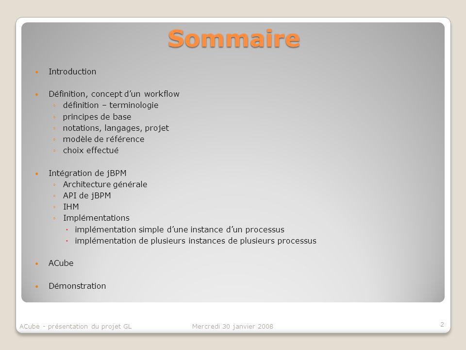 Sommaire Introduction Définition, concept d'un workflow