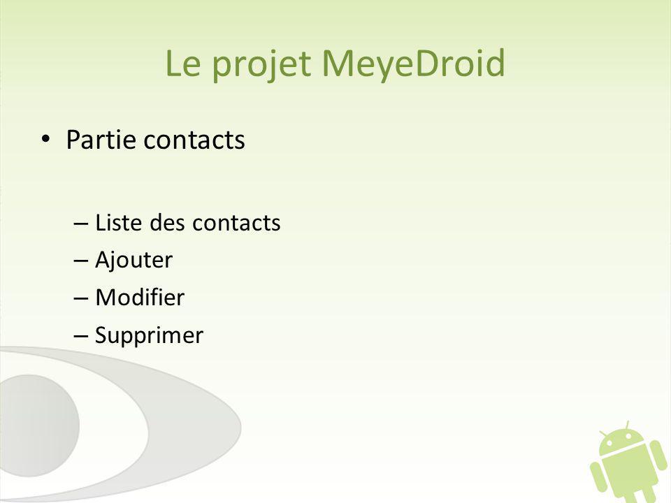 Le projet MeyeDroid Partie contacts Liste des contacts Ajouter