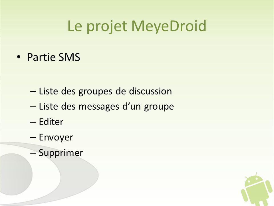 Le projet MeyeDroid Partie SMS Liste des groupes de discussion