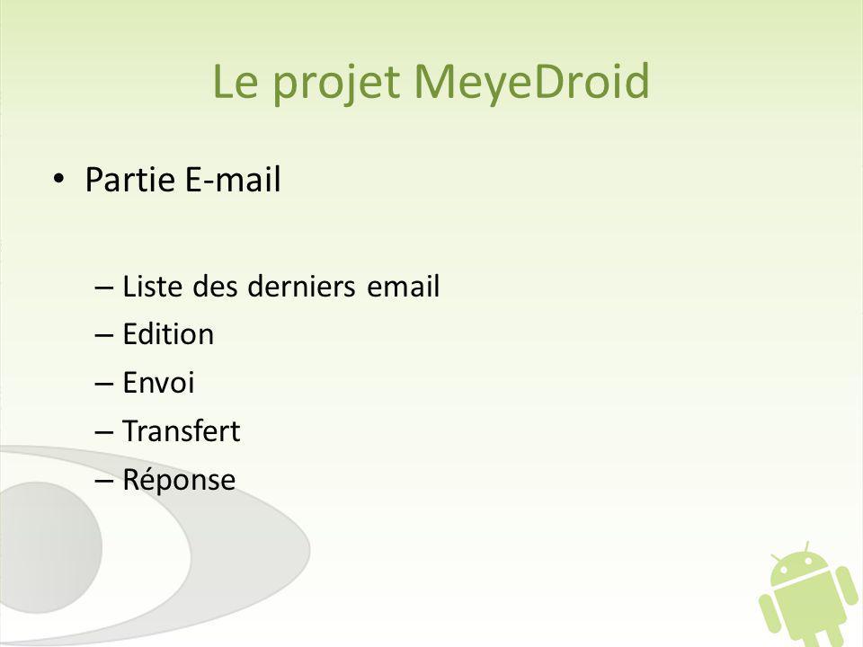 Le projet MeyeDroid Partie E-mail Liste des derniers email Edition