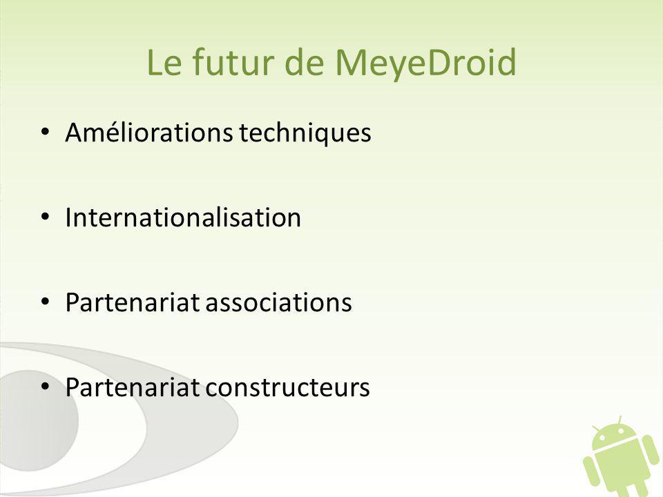 Le futur de MeyeDroid Améliorations techniques Internationalisation