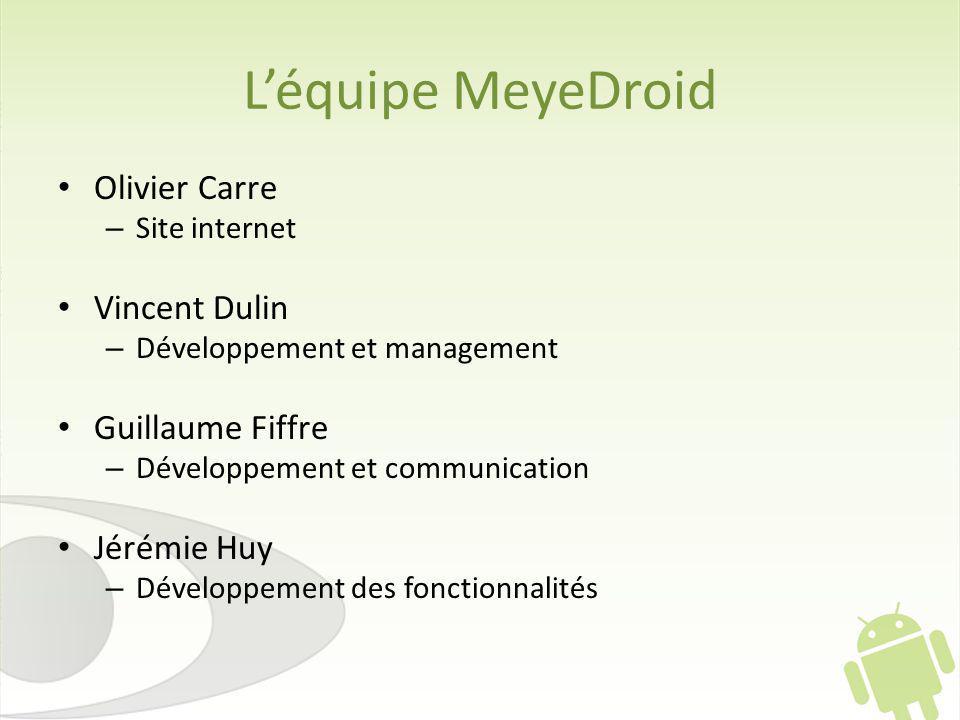 L'équipe MeyeDroid Olivier Carre Vincent Dulin Guillaume Fiffre