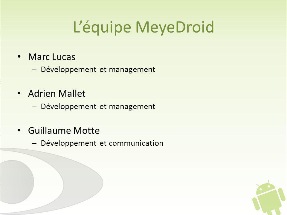 L'équipe MeyeDroid Marc Lucas Adrien Mallet Guillaume Motte