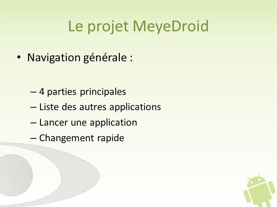 Le projet MeyeDroid Navigation générale : 4 parties principales