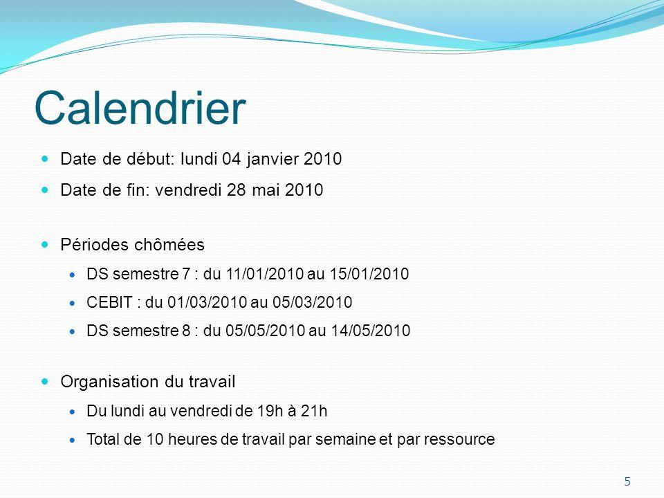 Calendrier Date de début: lundi 04 janvier 2010
